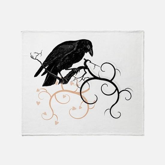 Black Raven Swirl Branches Throw Blanket