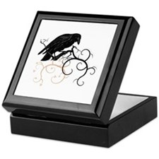 Black Raven Swirl Branches Keepsake Box