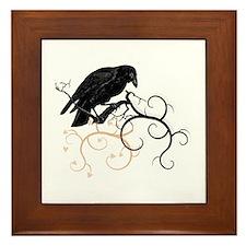 Black Raven Swirl Branches Framed Tile