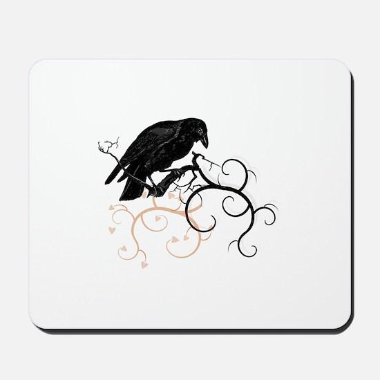 Black Raven Swirl Branches Mousepad