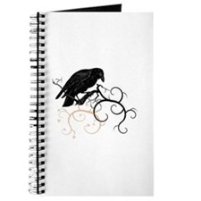 Black Raven Swirl Branches Journal