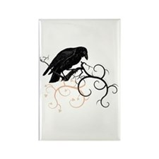 Black Raven Swirl Branches Rectangle Magnet