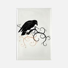 Black Raven Swirl Branches Rectangle Magnet