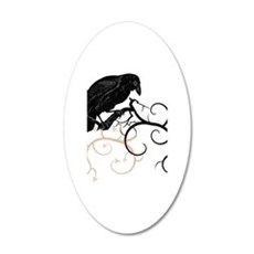 Black Raven Swirl Branches Wall Decal