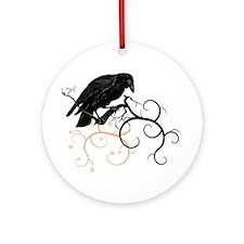 Black Raven Swirl Branches Ornament (Round)
