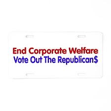 End Corporate Welfare Aluminum License Plate