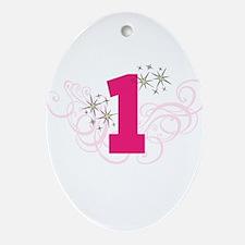Pink Custom number birthday Ornament (Oval)
