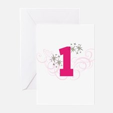 Pink Custom number birthday Greeting Cards