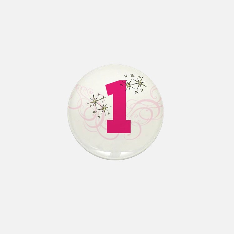 Pink Custom number birthday Mini Button