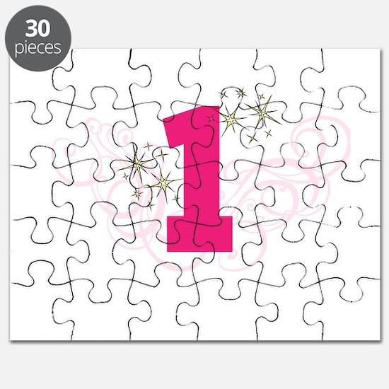 Pink Custom number birthday Puzzle