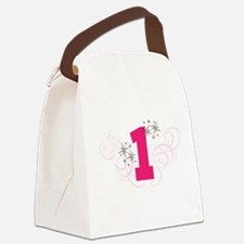Pink Custom number birthday Canvas Lunch Bag