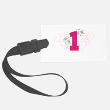 Pink Custom number birthday Luggage Tag