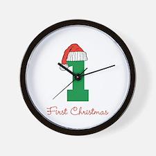First Christmas Green 1 Wall Clock