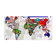 World Flag Map Beach Towel