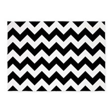 Black And White Chevron 5'X7'area Rug