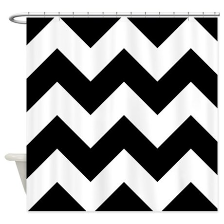black and white chevron shower curtain by graphicallusions