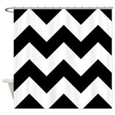 Black And White Chevron Shower Curtain