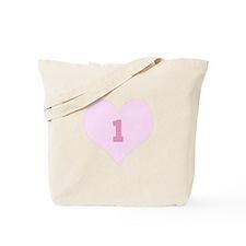 Pink Number 1 Heart Tote Bag