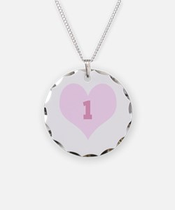 Pink Number 1 Heart Necklace Circle Charm