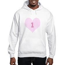 Pink Number 1 Heart Jumper Hoody
