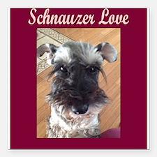 "Schnauzer Love Square Car Magnet 3"" x 3"""