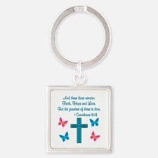1 CORINTHIANS 13:13 Square Keychain