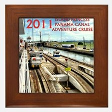Panama Canal - rect. photo- black edge Framed Tile