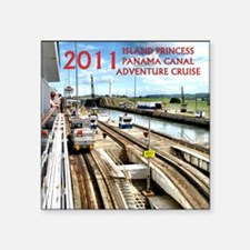 "Panama Canal - rect. photo- Square Sticker 3"" x 3"""