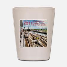 Panama Canal - rect. photo- black edge Shot Glass