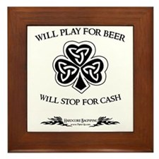 Will Play For Beer.  Will Stop For Cas Framed Tile