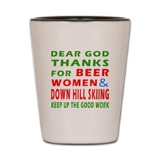 Beer Women and Down Hill Sking Shot Glass