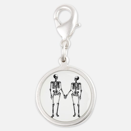 Skeletons Holding Hands Silver Round Charm