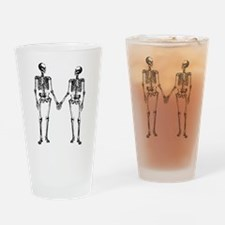 Skeletons Holding Hands Drinking Glass