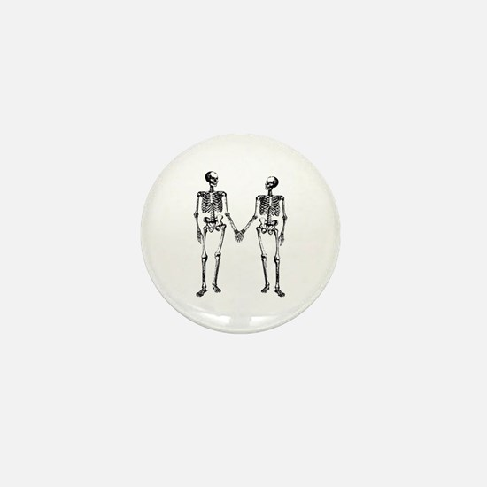 Skeletons Holding Hands Mini Button