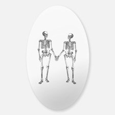 Skeletons Holding Hands Sticker (Oval)