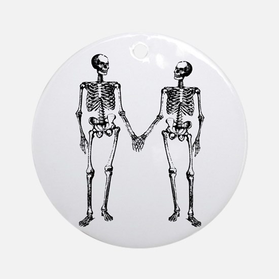 Skeletons Holding Hands Ornament (Round)