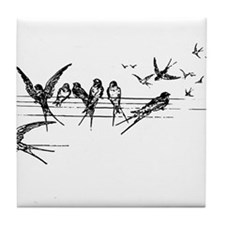 Swallows on Wires Tile Coaster