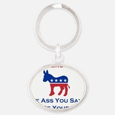 Vote Democratic Oval Keychain