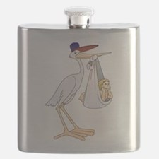 Stork Carrying Baby Flask