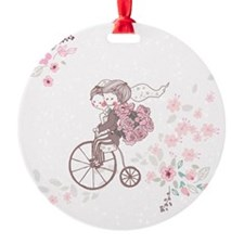 wedding couple on a bicycle Ornament