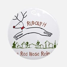 Flying Rudolph Round Ornament
