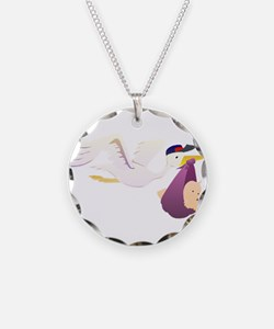 Stork Carrying Baby Necklace