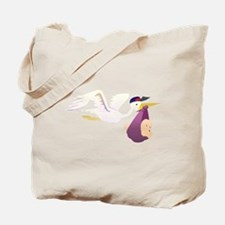 Stork Carrying Baby Tote Bag