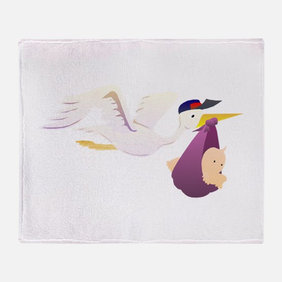 Stork Carrying Baby Throw Blanket