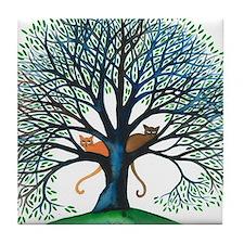 Corozal Stray Cats in Tree by Lori Al Tile Coaster