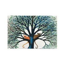Corozal Stray Cats in Tree by Lor Rectangle Magnet