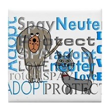 Spay Neuter Adopt 2 Tile Coaster