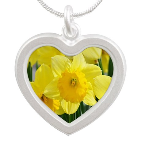 Trumpet Daffodil Silver Heart Necklace