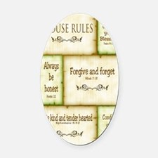 House Rules Oval Car Magnet