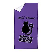Cat Lady Purple Beach Towel